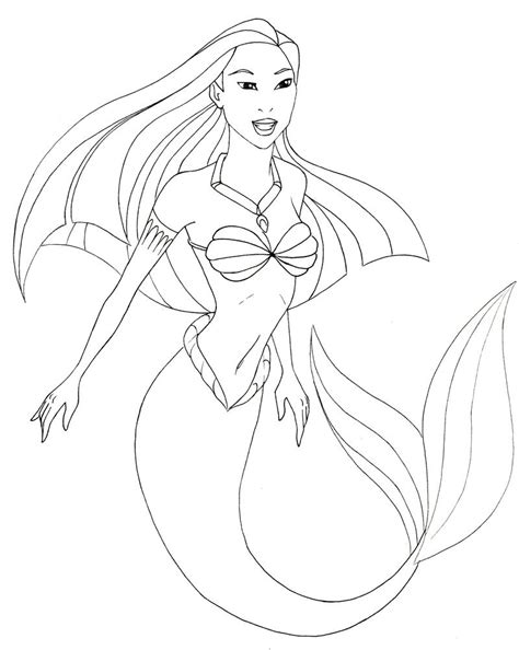 easy mermaid coloring pages pocahontas mermaid line attemp by therainedrop on deviantart