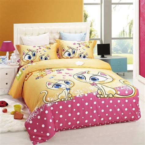 girl twin size bedding sets duvet cover kids bed cat print bedding set children girls