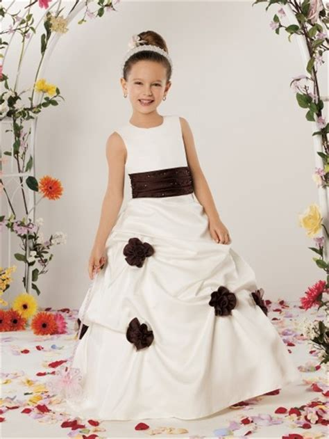design flower girl dresses a line princess scoop floor length ivory satin designer