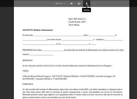 recesso fastweb mobile disdetta sky non a scadenza di contratto con decreto