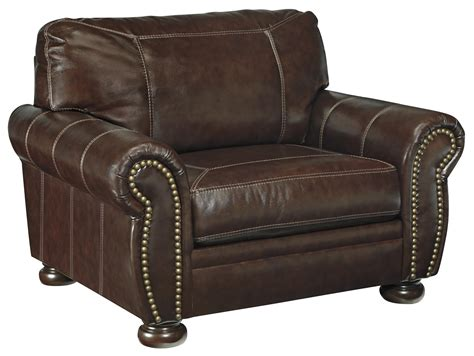 furniture leather chair and a half signature design by banner traditional leather