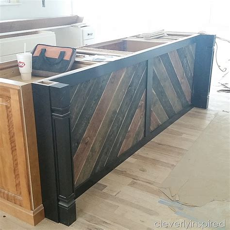 wood island kitchen diy reclaimed wood on kitchen island cleverly inspired