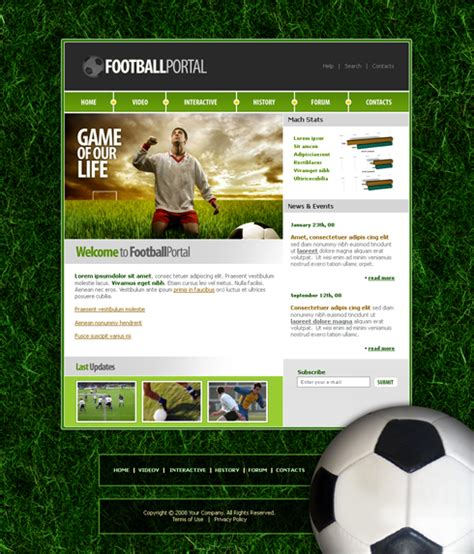 templates for football website 3671 sports fitness website templates dreamtemplate