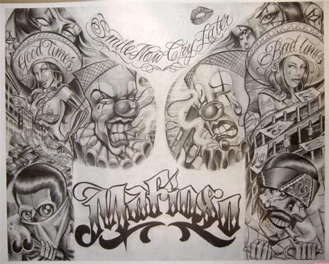 tattoo gangster designs amazing grey ink gangsta design viewer