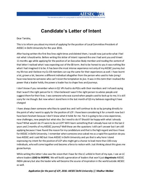 Letter Of Intent Aiesec Lcp Manifesto Madhur