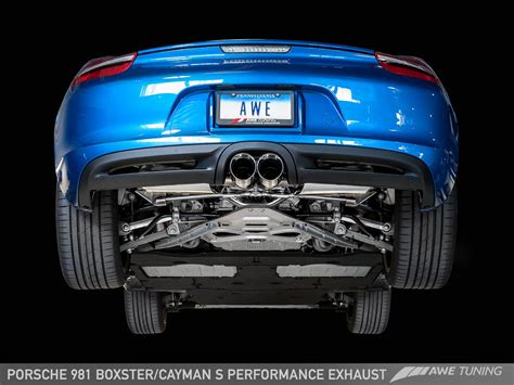 porsche cayman s sports exhaust porscheboost awe tuning releases 981 boxster s and