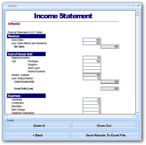 excel income statement template software download