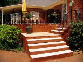 ideas for deck designs wood deck stairs with pavers