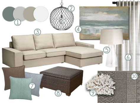inspiration board living rooms coastal color palette coastal living room idea livingroom