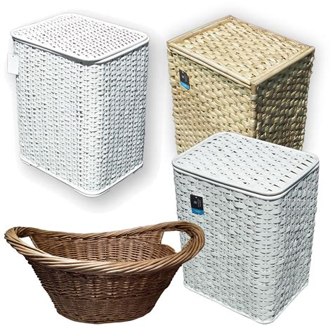 Bamboo Seagrass Wicker Laundry Basket Lid White Woven Ebay Laundry