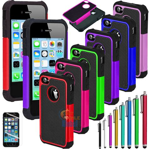hybrid rugged impact rubber matte cover for iphone 5c w screen guard ebay
