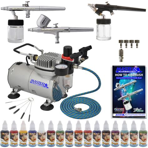 pro 3 airbrush paint system 16 color kit air compressor ebay