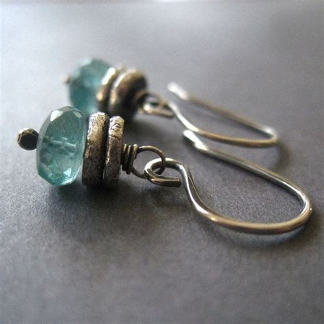Silver Handcrafted Jewellery - apatite silver earrings handmade gemstone jewelry by