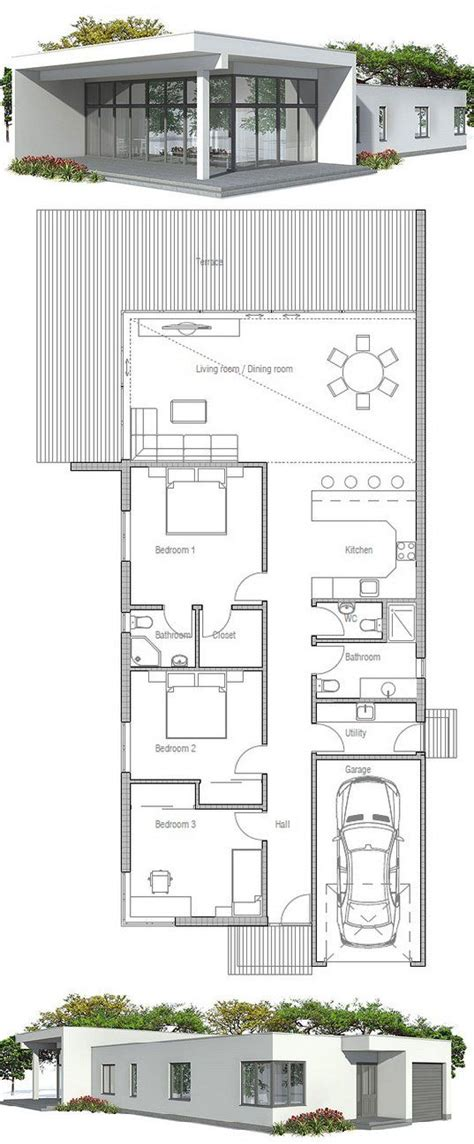 narrow house plan with three bedrooms floor plan from