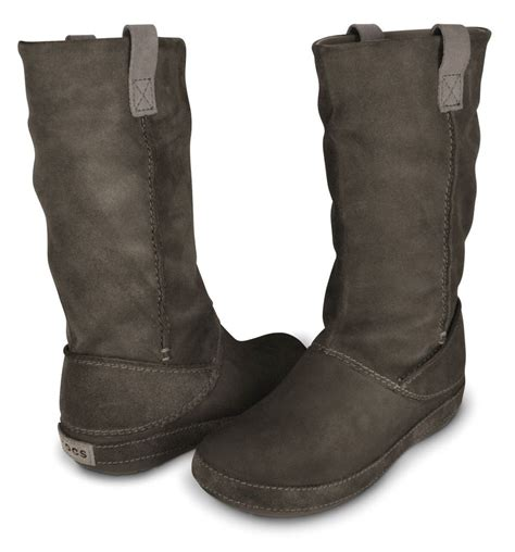 crocs s berryessa boot calf high suede flat brown