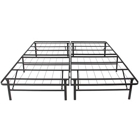 bed frame with box spring platform metal bed frame foldable no box spring needed mattress foundation king ebay