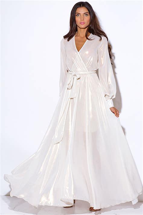 Rl Flowy Maxi shop wholesale womens ivory white metallic chiffon blouson