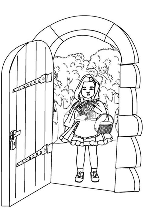 fairy door coloring page red riding hood open grandma house door coloring pages