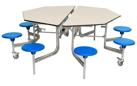 Octagonal Mobile Folding Table Seating Unit School Mobile Dining Table