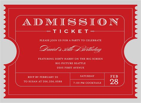 admit one ticket invitation www pixshark images