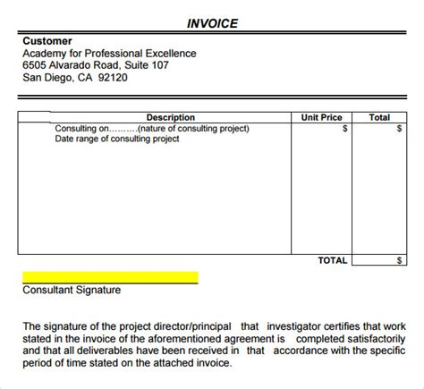 consultant invoice template consulting invoice template 7 free for word pdf