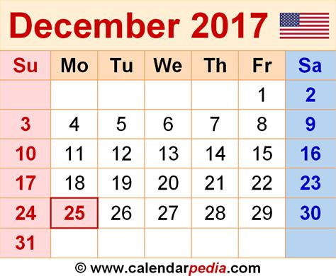 Calendar November 2017 And December 2017 December 2017 Calendars For Word Excel Pdf