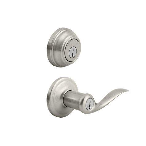 tustin satin nickel exterior entry lever and single