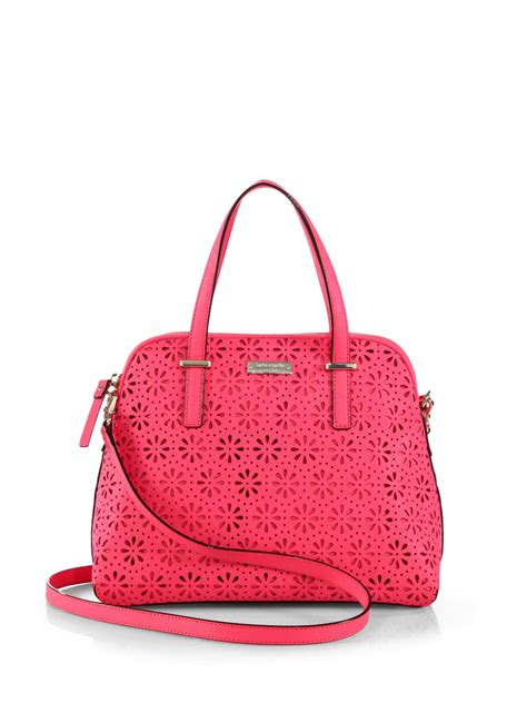 Kate Spade Maise Cedar Perforated Satch Bag kate spade cedar perforated maise satchel in pink