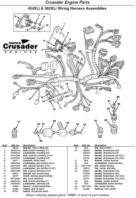 Crusader Engine 454XLi 502XLi Wiring Harness Assemblies
