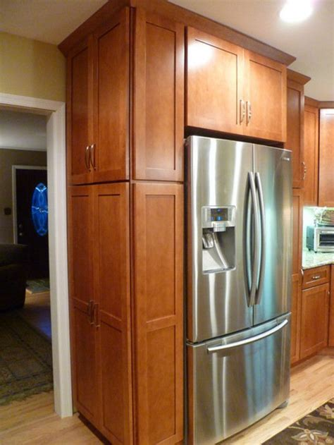 kitchen cabinets around refrigerator end of fridge cabinet appliances pinterest