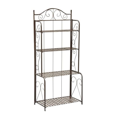 Folding Bakers Rack by Iron Folding 4 Tier Indoor Outdoor Bakers Rack 3472 Rt Bn