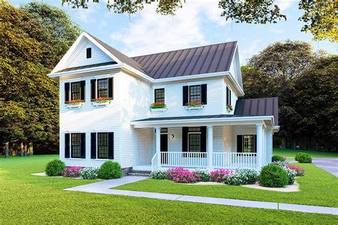 new american house plan with l shaped porch and upstairs