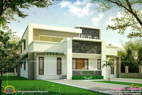 flat roof luxury home design kerala floor plans building kerala modern bungalow modern house