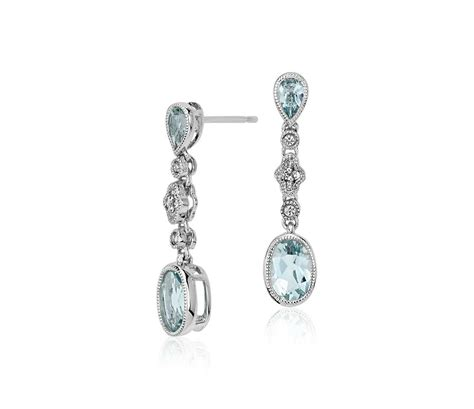 aquamarine and white sapphire drop earrings in 14k white