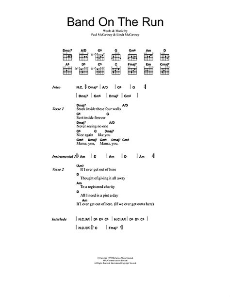 printable wings lyrics band on the run sheet music by paul mccartney wings