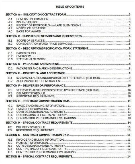 table of contents templates table of content 10 free word documents free