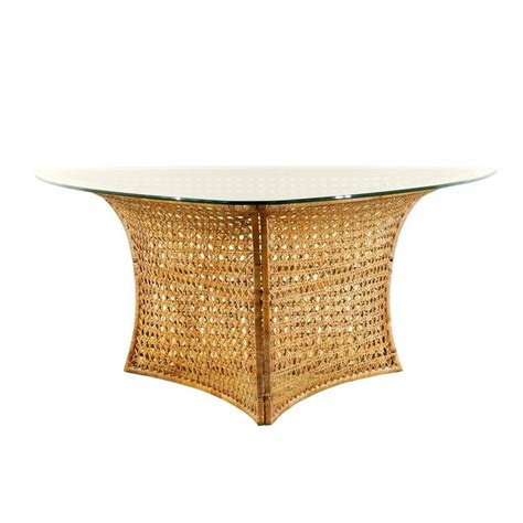 Rattan Dining Table Base Fantastic Vintage Rattan Triangle Base Dining Or Table By Danny Ho Fong For Sale At 1stdibs
