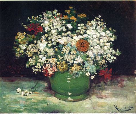 Gogh Vase Of Flowers by Vase With Zinnias And Other Flowers Vincent Gogh