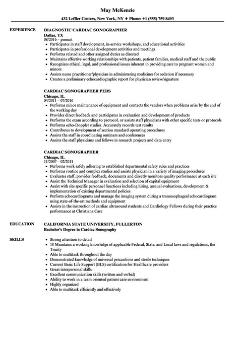 Sonographer Resume by Cardiac Sonographer Resume Sles Velvet
