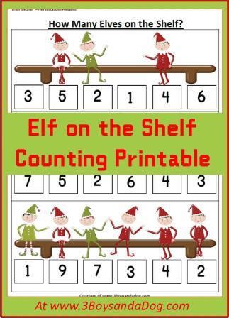 Elf On The Shelf Printable Resources | elf counting christmas printable worksheets printable