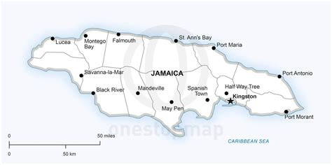 jamaica map with cities vector map of jamaica political one stop map