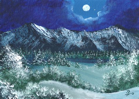 spray painting in winter winter moon in the mountains acrylic painting
