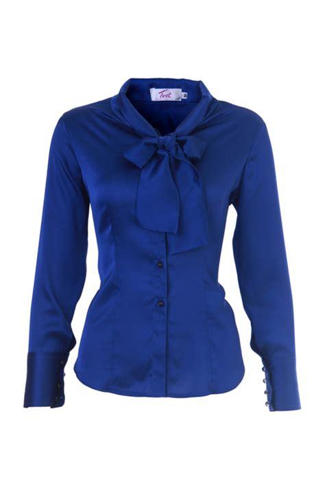 Blouse Blue blouses royal blue tie bow silk satin blouse a unique