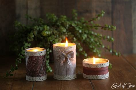 Handmade Candles - barn wood candle easy tin can project knick of time