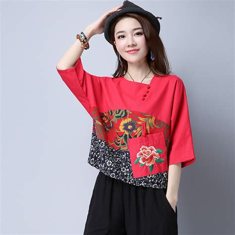 Id 911 Embroidery Oversize Blouse 包邮 national wind large size hit color embroidery embroidery pocket breathable