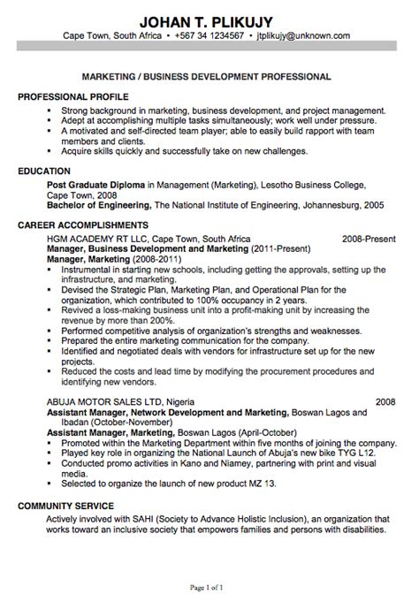 chronological resume format 2014 chronological resume sle marketing business development resume exles 2014 with headline by