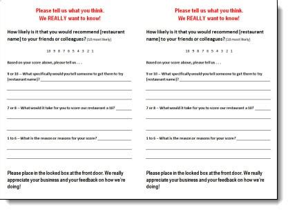 5 Restaurant Comment Card Templates Formats Exles In Customer Card Template