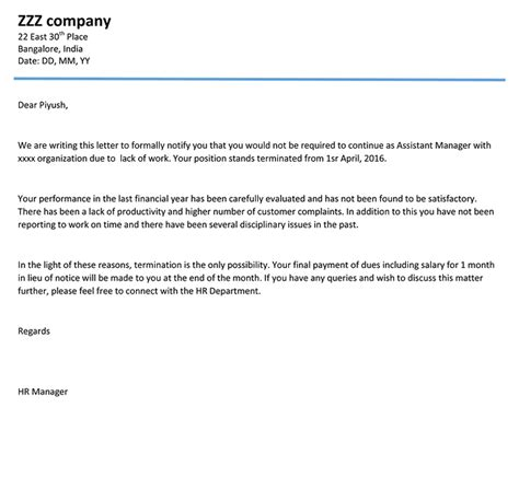 employment termination letter word template sample