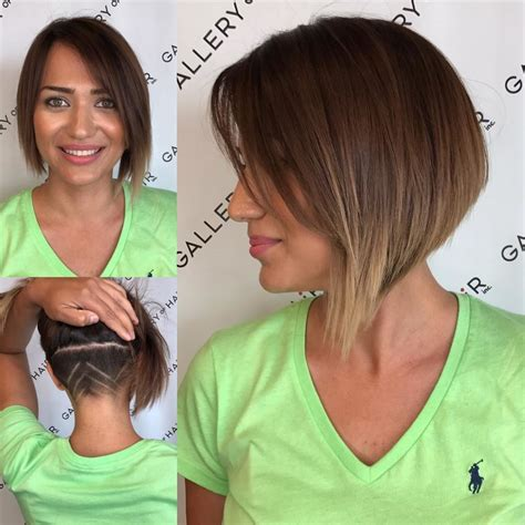 womens asymmetric inverted bob  side swept bangs