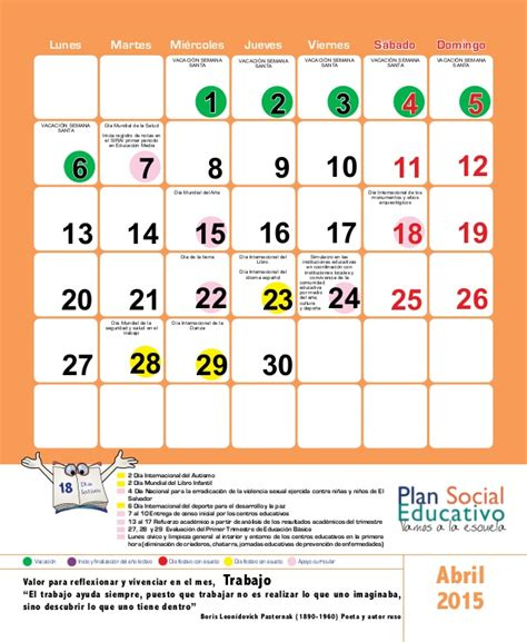 Calendario Escolar 2015 Usa Calendario Escolar 2015 El Salvador